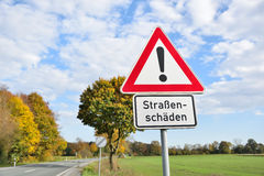 Damage roads germany traffic sign Royalty Free Stock Photos