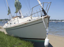 Damage on sailboat washed ashore on Nantucket by Hurricane. A sailboat that broke free from its moorings and collided with other moored boats washed ashore on A stock image
