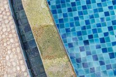 Damage swimming pool edge from acid water, pool problem. Wrong chemical treatment Stock Image