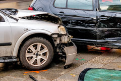 Damage to the bodywork of cars. Symbol of accident, scrapping, insurance Stock Photos