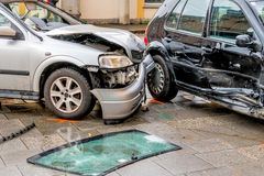 Damage to the bodywork of cars. Symbol of accident, scrapping, insurance royalty free stock photos