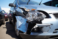 Damage To Car Involved In Accident Royalty Free Stock Photos