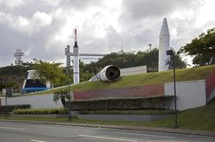 Damage to rocket in  park of science after hurricane Maria Bayamon Puerto Rico. BAYAMON/PUERTO RICO - February 26, 2019: Exterior showing  damage to rocket in stock photo