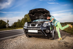 Damage to vehicle problems on the road. Stock Images