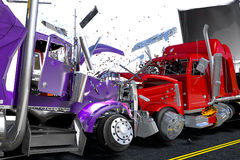 Damage two lorries Royalty Free Stock Photography