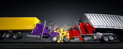 Damage two lorries. Scene to damages two lorries Stock Images
