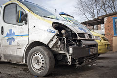 Damaged ambulances Stock Image