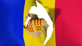 Damaged Andorra flag. White background, 3d rendering stock illustration