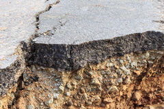 Damaged asphalt. Layer of clay that were eroded royalty free stock photos