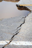 Damaged asphalt. Layer of clay that were eroded Royalty Free Stock Photo
