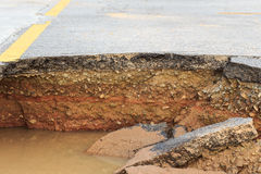 Damaged asphalt. Layer of clay that were eroded Royalty Free Stock Photography