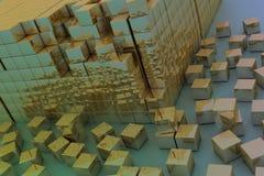 Damaged assembling of gold blocks Stock Image