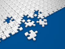 Damaged assembling of puzzle. 3D Illustration. On blue background royalty free illustration