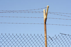 Damaged Barb wire fence Royalty Free Stock Images