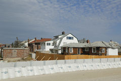 Damaged beach house in devastated area one year after Hurricane Sandy Stock Images