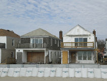 Damaged beach houses in devastated area one year after Hurricane Sandy Royalty Free Stock Image