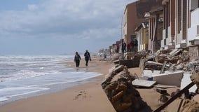 Damaged beach houses stock video