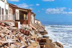 Damaged beach houses. Spain Royalty Free Stock Photography
