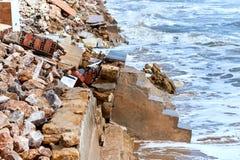 Damaged beach houses. Spain Stock Photo