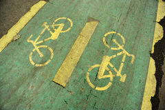 Damaged bicycle lane Royalty Free Stock Photo