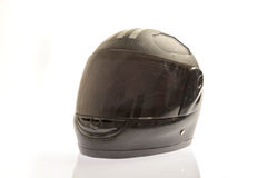 Damaged black coloured motor cycle helmet Royalty Free Stock Photos