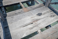 Damaged boardwalk. Unsafe boardwalk over the sea with missing parts Royalty Free Stock Photo