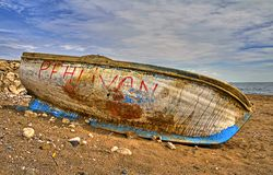 Damaged boat hdr. A damaged boat at seaside Royalty Free Stock Photos