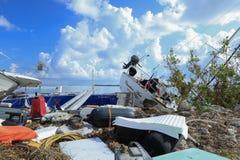 Boats debris washed ashore during Hurricane Irma. Damaged boats and debris washed up along Fleming Key Cut and Trumbo Point, Key West Florida after Hurricane Stock Image
