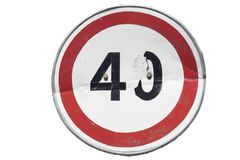 Road sign `Speed limit 40 km/h` isolated on white. Damaged bowed road sign `Speed limit 40 km/h` isolated on white royalty free illustration