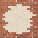 Damaged brick wall. Damaged red brick wall with hole. Vector illustration Royalty Free Stock Photos