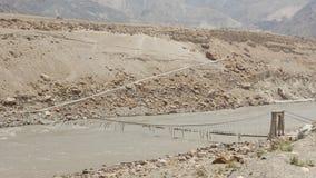 Damaged Bridge Across The Indus River Stock Image
