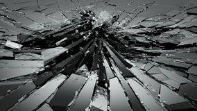 Damaged or broken glass on black. 3d rendering 3d illustration Royalty Free Stock Photo