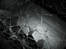 Damaged or broken glass on black. 3d rendering 3d illustration Stock Photos