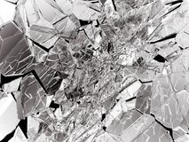 Damaged or broken glass on black. 3d rendering 3d illustration Stock Image