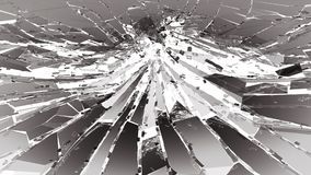 Damaged or broken glass on white. 3d rendering 3d illustration Stock Photography