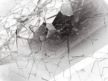 Damaged or broken glass on white. 3d rendering 3d illustration Royalty Free Stock Photography