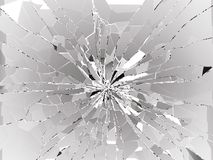 Damaged or broken glass on white. 3d rendering 3d illustration Royalty Free Stock Images