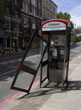 Damaged BT telephone box Stock Images