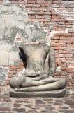 Damaged Buddha statue at Wat Mahathat, Ayutthaya, Thailand Royalty Free Stock Photos
