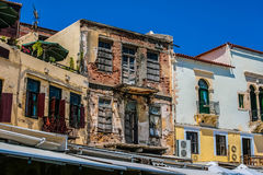 Damaged building in center of Chania, Greece Royalty Free Stock Photo