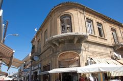 Damaged building during the Cyprus - Turkish war in North, Turkish part of Nicosia, Cyprus. Abounded buildings, damaged during the Greece - Turkish war in North stock photography