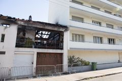 A Damaged building house after an accidental fire. Damaged building house after an accidental fire royalty free stock images