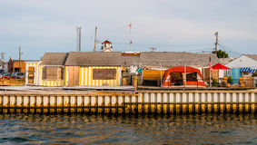 Damaged buildings along the Manasquan Inlet in Point Pleasant Be Stock Photo