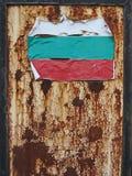 Damaged Bulgarian flag on rusty metal sheet. stock photo