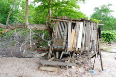 Damaged cabin at the beach Stock Photography