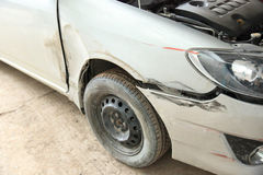 Damaged car after accident Royalty Free Stock Photos