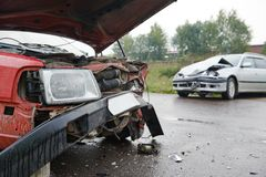 Damaged car after accident Stock Images