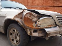 Damaged car after an accident royalty free stock photography