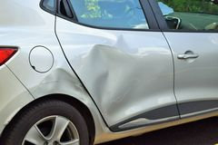 Damaged car after an accident Royalty Free Stock Images