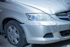 Damaged car after crash Royalty Free Stock Photo